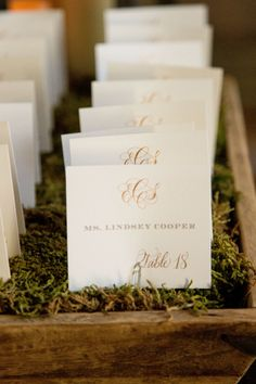 Ivory Escort Cards Monogrammed in Gold | You've Got Paper | David Sixt Photographic | TheKnot.com