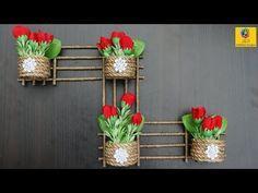 Diy Wall Hanging Flower Vase With Jute Flower Pot Using Jute Rope Wall Decor Jute Craft Idea Youtube Diy Wall Hanging Flower Wall Hanging Crafts Jute Crafts
