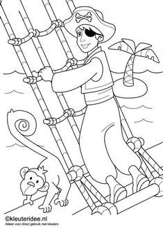 kleurplaat piraten 3, kleuteridee.nl , op de site nog veel meer piratenkleurplaten, pirates coloring free printable.. Pirate Coloring Pages, Coloring For Boys, Colouring Pics, Preschool Pirate Theme, Pirate Activities, Pirate Day, Pirate Birthday, Caleb Y Sofia, Pirate Island