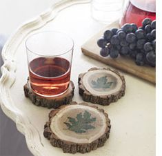 Wood coasters    Winter is the time for pruning and cutting back - here's a way to use large cut off branches as coasters and decorations.    Use a cut-off or table saw to cut down large branches into small sections.    The wood is still wet so pop into a low (60 degrees C) oven overnight to dry them out and then paint on your designs... simple!