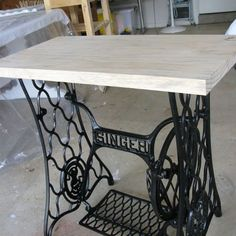singer sewing machine cabinet makeover to hall table, kitchen cabinets, kitchen design, painted furniture, Pine top added
