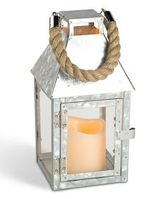 Gerson Everlasting Glow 42524 Galvanized Metal Lantern with Glass Panes and 3 by Flameless LED Resin Candle, by Silver Led Lantern, Metal Lanterns, Galvanized Metal, Led Candles, Event Design, Home Goods, Candle Holders, Glow, Display