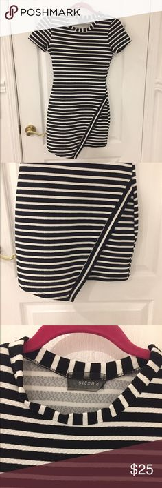 Sienna uneven striped dress Black and white striped dress. Bottom is uneven. From Luna B. Can be dressed down with sandals or dressed up with heels. Only worn once. Dresses Mini