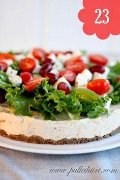Pullahiiren leivontanurkka: kreikkalainen voileipäkakku Sandwich Cake, Sandwiches, Savoury Baking, Savoury Cake, Finnish Recipes, Salty Foods, Sweet Bakery, Savory Snacks, Appetisers