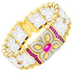 Pearl Ruby Diamond Cuff Bracelet at 1stdibs