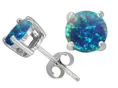Original Star K(tm) Round 7mm Created Blue Opal Earring Studs in .925 Sterling Silver Star K. $49.99. Star K. Designs are exclusive and protected by Copyright Laws. Guaranteed Authentic from the Star K designer line. Save 50% Off!