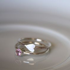 Mothers Rings - Stacking Rings - Valentine - Heart - Sterling Silver - Made to Order by LoreleyJewelry on Etsy https://www.etsy.com/listing/219699762/mothers-rings-stacking-rings-valentine