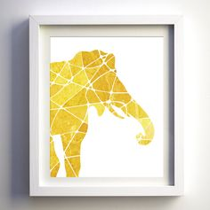 Mustard & Golden Yellow Geometric Elephant Art Print * Print does not come with any frame or mat. All prints have an extra white border
