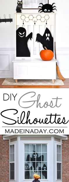 Haunted Halloween Ghost Silhouettes,Haunt your abode with these super easy DIY foam ghost silhouettes! scary spooky, haunted house via @madeinaday
