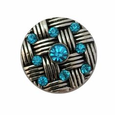 Teal Basketweave Rhinestone Snap Charm 20mm For Ginger Snap Type Jewelry