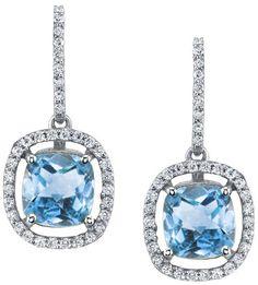 floating blue topaz earrings.