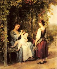 Tickling The Baby Fritz Zuber-Buhler (1822 – 1896, Swiss) (1) From: I Am A Child (2) Webpage has a convenient Pin It Button