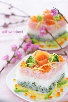 日本人のごはん/お弁当(3月編): Japanese meals/Bento ひな祭りのお寿司♪ひしもち風♪ Sushi for Hinamatsuri.