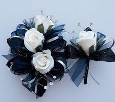 Navy Blue Silver Black Prom Corsage Set    by FlorescenceByDesign