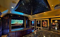 home theater room with sky roof led by Decoholic Best Home Theater, Home Theater Design, Dream Theater, Custom Home Builders, Custom Homes, Movie Theater Rooms, Cinema Room, Inexpensive Flooring, Best Flooring