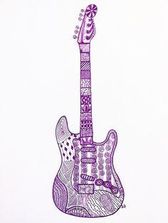 Zen doodle of an electric guitar #guitar #doodle #zen
