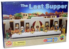 How awesome is this Last Supper Building Set? Jesus and 12 apostle figures + 286 Lego-compatible building pieces!