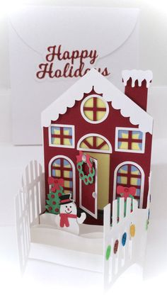 This is an adorable, fun and easy to cut and put together Holiday House Card In A Box 3D SVG. This card in a box really has a wow factor for the