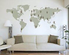 LARGE World Map Wall Decal Sticker x Vinyl Wall Stickers Decals With Pins - Most creative decoration list World Map Wall Decal, Wall Maps, Vinyl Wall Stickers, Wall Decal Sticker, Wall Vinyl, Travel Wall, Travel Bedroom, Unique Wall Art, Home And Deco