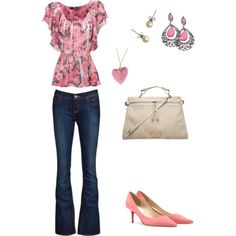date outfit-pretty in pink. flirty top.