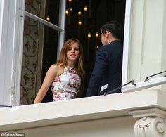 Emma Watson looked modest but on trend as she attended Caroline Sieber's wedding in Vienna