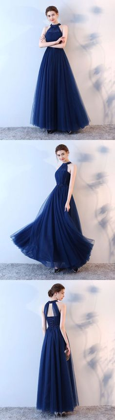 Blue halter tulle long prom dress, blue evening dress, M1274#prom #promdress #promdresses #longpromdress #promgowns #promgown #2018style #newfashion #newstyles #2018newprom #eveninggown #halter #tulle #bluepromdress #eveningdress