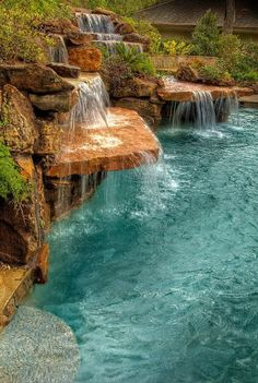 You are able to completely change your backyard into an awesome natural pool with exceptional water features. A natural pool design is a significant extension to your property. Luxury Swimming Pools, Luxury Pools, Dream Pools, Swimming Pool Designs, Small Pool Design, Pool Waterfall, Waterfall Design, Custom Pools, Beautiful Pools