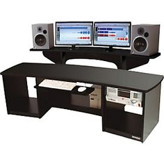 A recording studio cannot be complete without a proper studio desk with the best features and proper Studio Desk Music, Home Studio Musik, Home Recording Studio Setup, Home Studio Setup, Studio Ideas, Black Desk, Editing Suite, Studio Furniture, Office Furniture