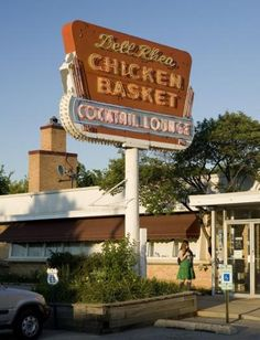 """Dell Rhea's Chicken Basket - Willowbrook, IL. Nostalgic 1940s Route 66 roadhouse featured on The Food Network's """"Diners, Drive-Ins & Dives."""""""