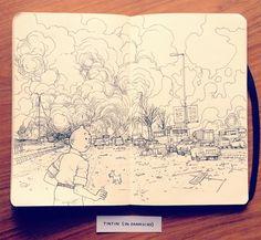 Jared Muralt on Behance | Sketchbook | Sketch | Rascunho | Layout | Illustration | Pen | Drawing | Draw | Tintin |
