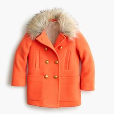 Crew for the Girls' chateau faux-fur-collar coat. Find the best selection of Girls Outerwear available in-stores and online. Faux Fur Collar Coat, Fur Collars, Fur Coat, Girls Coats & Jackets, J Crew Men, Furla, Canada Goose Jackets, Kids Fashion, Raincoat