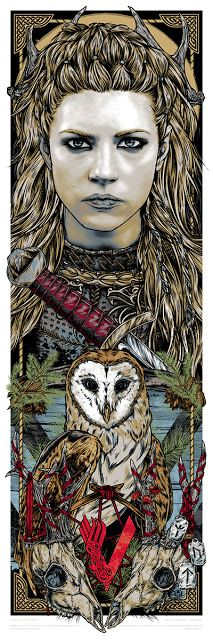 'Lagertha' by Rhys Cooper, a new officially licensed 'Vikings' print release from Famp Art. x 6 colour screen print with three metallic inks, in a hand numbered limited edition of 90 for. Vikings Show, Vikings Tv, Norse Vikings, Pagan Gods, Norse Pagan, Norse Mythology, Vikings Lagertha, Ragnar Lothbrok, Warrior Tattoos
