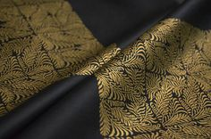 Gold fabric black Sateen cotton luxury fabric chessboard
