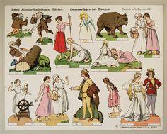 Scholz` Künstler=Aufstellbogen, Märchen. Schneeweißchen und Rosenrot. Aufstellbilder auf dickem  Papier (33x43 cm) No. 59 K.