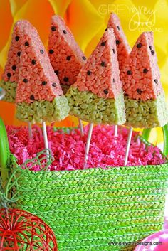 Watermelon Rice Krispie treat pops at a Fruit Birthday Party!  See more party ideas at CatchMyParty.com!