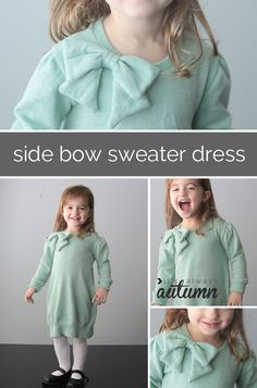 side bow sweater dress upcycle
