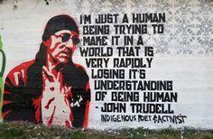 Gregg Deal's mural dedicated to John Trudell. Photo courtesy Gregg Deal.