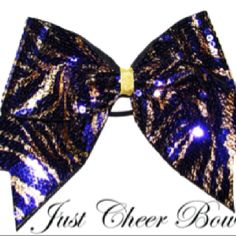 Purple & Gold Zebra Sequin Cheer Bow