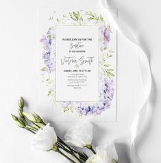 Floral baptism invitation or baby dedication invitation Baby Dedication Invitation, Baptism Invitations, My Design, My Etsy Shop, Floral, Prints, Florals, Flowers, Flower