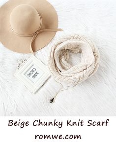 Warm Fall & Winter - Beige Chunky Knit Scarf from romwe.com