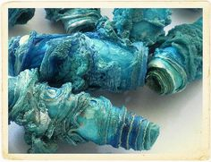 Sea blue textile art beads hand made by Carolyn Saxby for all types of craft… Fabric Beads, Paper Beads, Fabric Art, Bead Crafts, Jewelry Crafts, Jewelry Art, Textile Jewelry, Fabric Jewelry, Creative Textiles