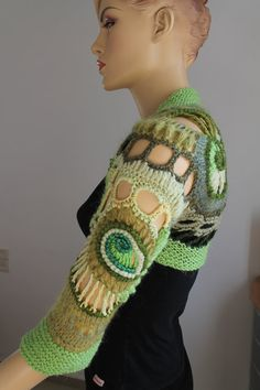 FREEFORM Crochet Knitted Shrug Bolero 3/4 sleeved in shades of green  Material : wool, blended wool,acrylic, cotton    Care instructions: hand wash gently in cool water and lay flat to dry.    Color: shades of green    Size: S / M You can find other shrugs here: http://www.etsy.com/shop/levintovich?section_id=6944297