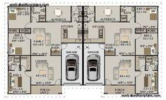 6 Bedroom 2 Bath Duplex:269.9DU Duplex Floor Plans, House Floor Plans, Family House Plans, Blue Prints, Bath, 100m, My Dream Home, Houses, The Unit