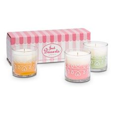 Too yummy to pick just one! Fill your home with these sweet smells. Delicious fragrances presented in a decorative swirled glass jar. One of each scent: Pineapple Upside Down Cake, Lemon Lime Macaroon and Marshmallow Peppermint.