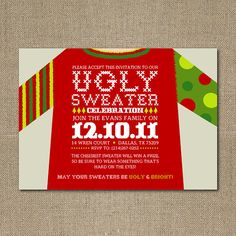 ugly christmas sweater party invite idea