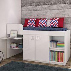 Cama Alta Multifuncional com Armário, Escrivaninha e Prateleira – Branco –…