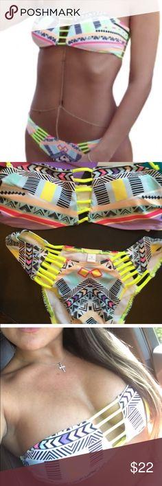 New tribal bikini set ☀️ New from my bikini shop two piece bikini set. Strapless with padding in top, medium coverage tribal bottom Swim Bikinis