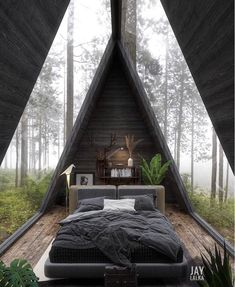 Cabins In The Woods, House In The Woods, Modern Interior Design, Interior Architecture, Amazing Architecture, Building Architecture, Dream Home Design, House Design, A Frame House