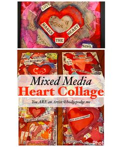 So many possibilities! A heart collage made pieces of copied sheets of music, red tissue paper, words and Valentines or with supplies you have on hand.