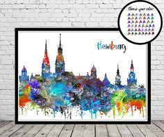 Epic Hamburg Hamburg skyline Hamburg Germany watercolor Hamburg
